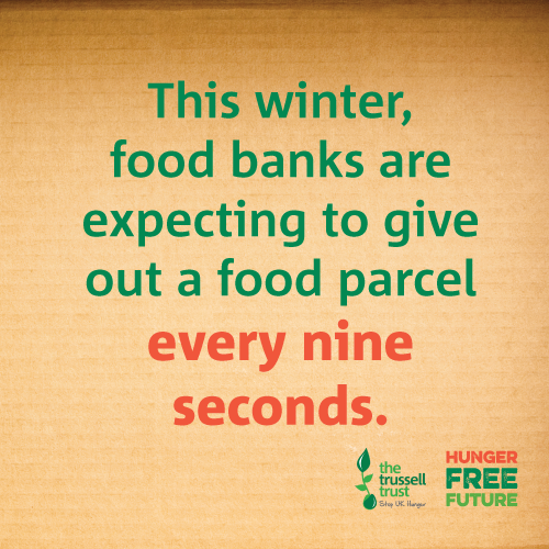 This winter food banks are expecting to give out a food parcel every 9 seconds. Support the Trussell Trust and their #HungerFreeFuture campaign. Text NEWRIVERDONATE to 70085 to donate £5 Texts cost £5 plus one standard rate message.