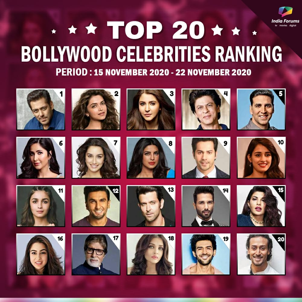 #IFCelebrityRanking: Take a look at Bollywood's Top 20 Celebrities Ranking based on the popularity meter on our forum. Tell us who is your favourite?  (Ranking is calculated based on Celebs Buzz, Fan Following, Social Media Engagement)