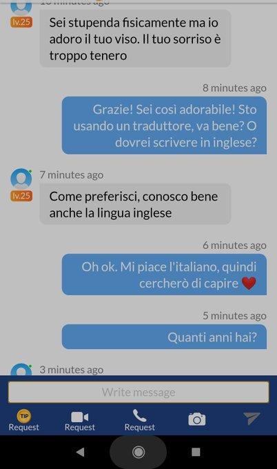 No entiendo una goma si está bien lo del italiano. Onda, yo entiendo lo que me dice él pero no sé escribirle