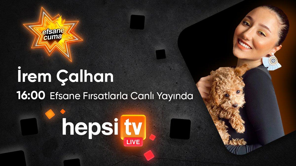 Efsane Cuma indirimlerinde HepsiTV Live'da bugün İrem Çalhan efsane indirimli ürünleri inceliyor! 16:00'da Hepsiburada'da olun, canlı yayına özel indirimleri kaçırmayın. #iremçalhan #hepsitv #efsanecuma