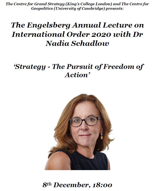 Please join us on the 8th Dec for The Engelsberg Annual Lecture on International Order 2020 with Dr Nadia Schadlow, and comments from Prof. Brendan Simms @CamGeopolitics @warstudies @KingsSSPP kcl.ac.uk/events/the-eng…