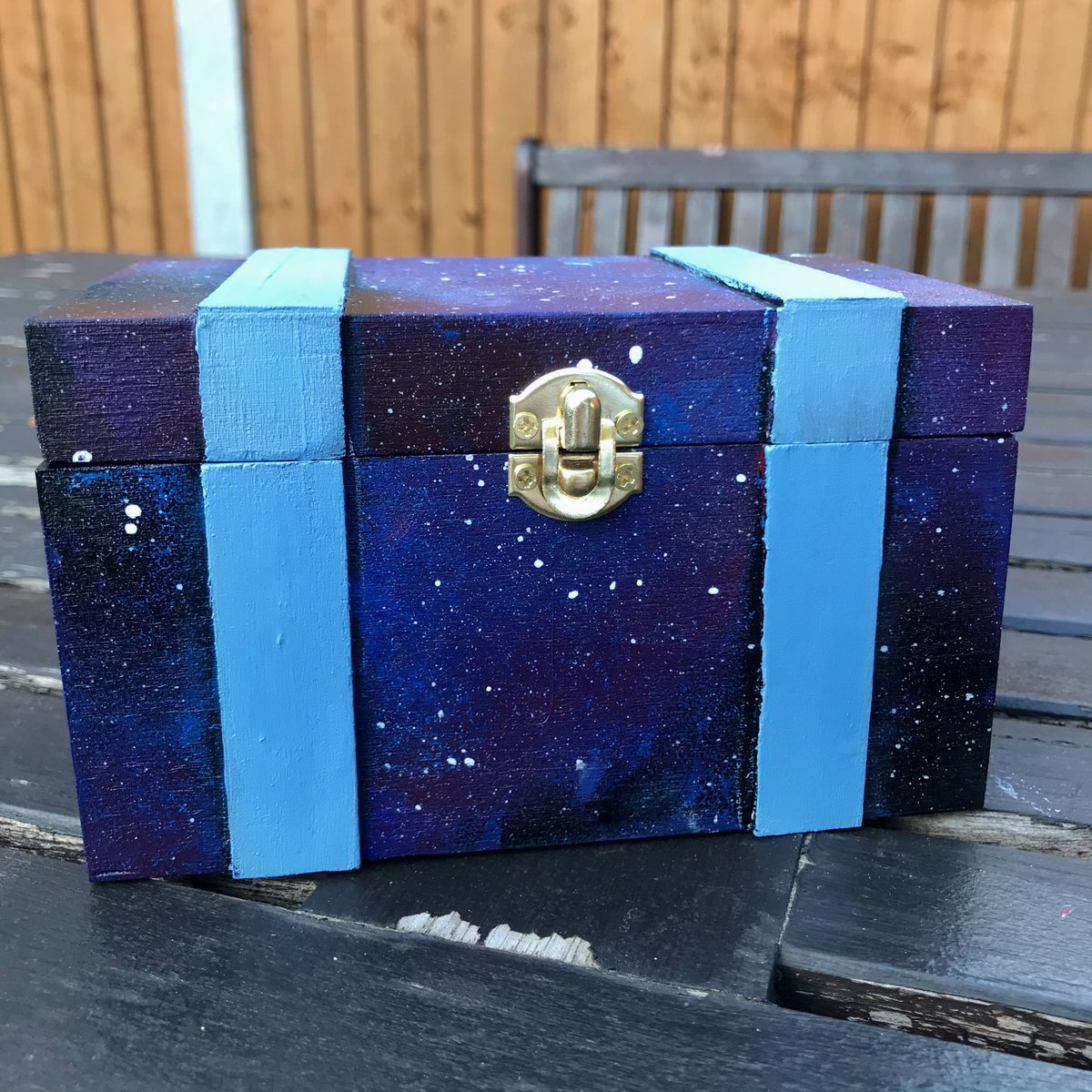 Galaxy wooden painted box✨ One of a kind and hand painted with love. A really great gift idea for any space lovers in your life🪐⭐️ Honestly was pretty tempted to keep this one for myself because it's so damn pretty🥺 fenn.bigcartel.com/product/galaxy… (vid below)