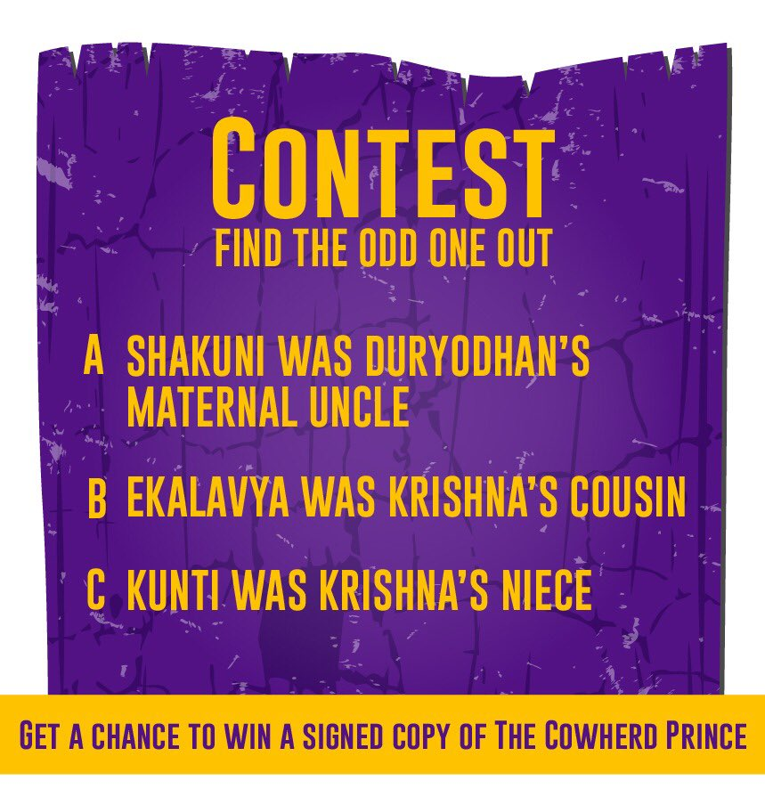 🧠 QUIZ TIME 🧠   [𝙁𝙞𝙣𝙙 𝙩𝙝𝙚 𝙤𝙙𝙙 𝙤𝙣𝙚 𝙤𝙪𝙩 ]  🔸Here's your ANOTHER chance to win a Signed copy of the Cowherd Prince.  🔸Just guess which of these statements is false.  🔸Comment the option (A,B or C) and tag a friend to participate in the same.