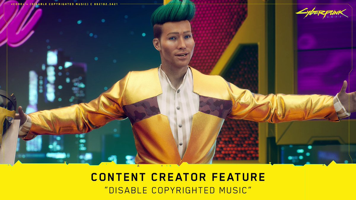 "Worried about copyright issues when streaming or recording #Cyberpunk2077? Don't be!  We've prepared a feature for all of the content creators: ""Disable Copyrighted Music"". Just toggle it on and you'll be ready to go!  More details available here:"