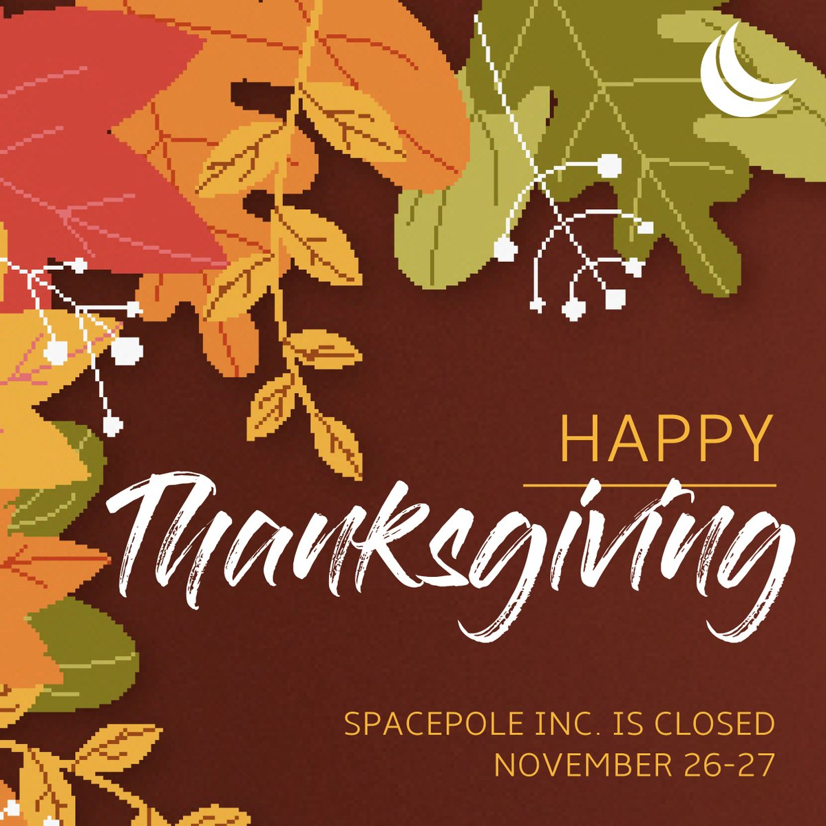 test Twitter Media - HOLIDAY CLOSURE ANNOUNCEMNT:  @SpacePole_Inc will be close Thu 11/26 & Fri 11/27 in observance of Thanksgiving. We wish everyone a lovely holiday! #Thanksgiving2020 https://t.co/IbGiVJPjol