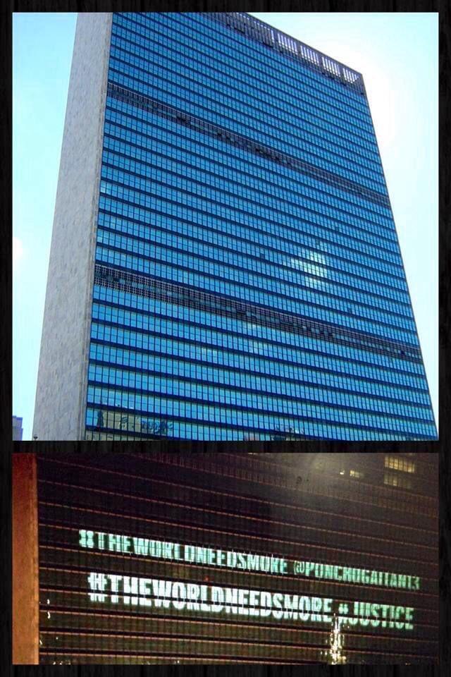 Hace 7 años enviaste este mensaje y fue escrito en las paredes de @ONU Hoy aún  vigente .Continúa  preparándote y trabajando duro para lograr tus metas .Cada día estoy más orgullosa de ti y tus logros @ponchogaitan13  🇲🇽#theworldneedsmore #justice @davidguetta