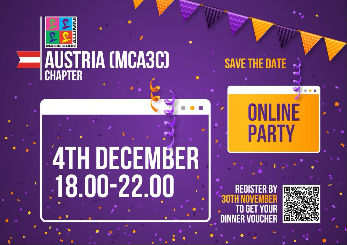 For #MCAA members based in #Austria📢📢📢 Save the date and join us for our #onlineparty on 📅4th December 2020 from 6pm. Pizza 🍕🍕🍕 home delivery is included! https://t.co/EkJE2QfY0r