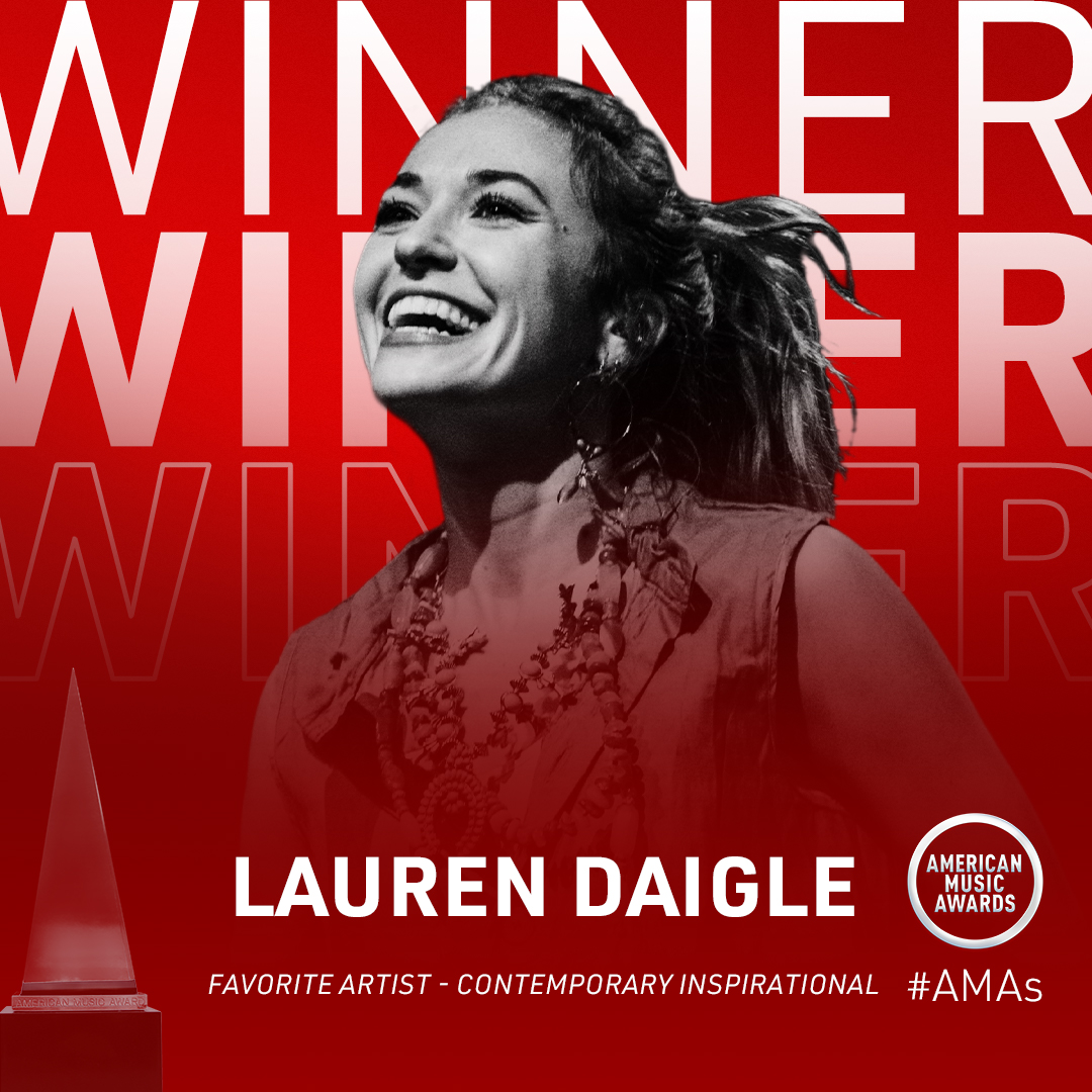 Replying to @Lauren_Daigle: I am SO grateful ❤️ Thank you all so much for this honor and for your votes!! @AMAs