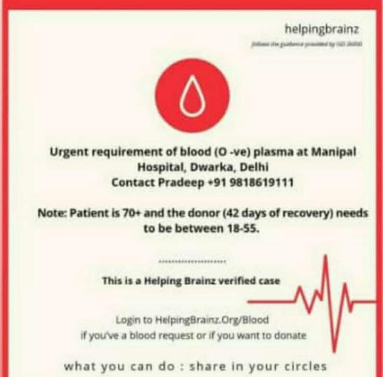#Delhi #Urgent #Need (O-ve) #Blood #Plasma #COVID19 recovered 42 days ago @ Manipal Hosp M: 9818619111 cc @TajinderBagga @nistula @iamsudhasinha @AbhaGurain @rajeshkalra @BloodDonorsIn @p_sahibsingh @TeamSOSIndia @Blood4Help  @appurv_gupta @richaanirudh #BloodMatters