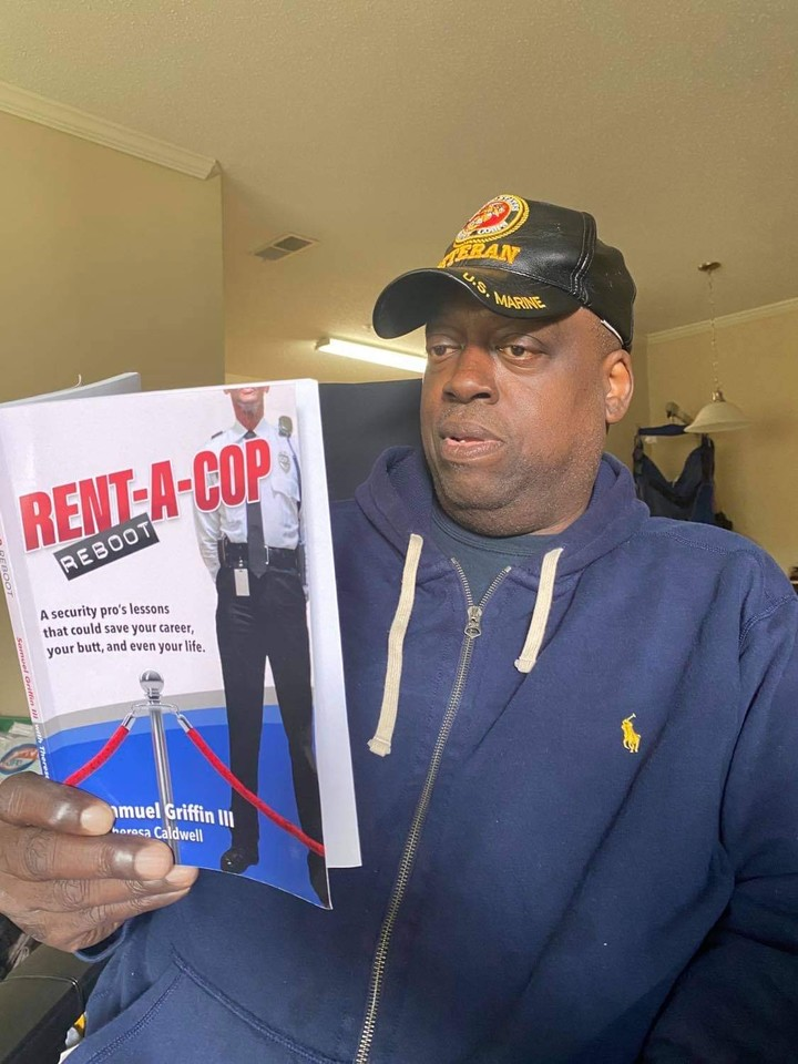 """A happy customer, Chef Carl Redding, reading """"Rent-A-Cop Reboot: A security pro's lessons that could save your career, your butt, and even your life.""""  Thank you for the photo Chef Carl! #readingchallenge #securitycareer #readmore #careerbooks #careerboost #mondaymotivation #book"""