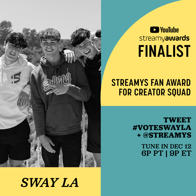 RT to #VOTESWAYLA for the @streamys Fan Award for Creator Squad!