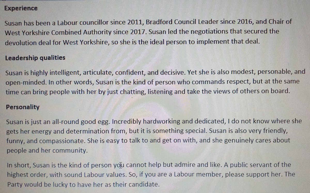 Just voted @Susan4WYrkMayor. Susan is easily the best candidate to be Labours candidate for West Yorkshire Mayor. My thoughts on why 👇