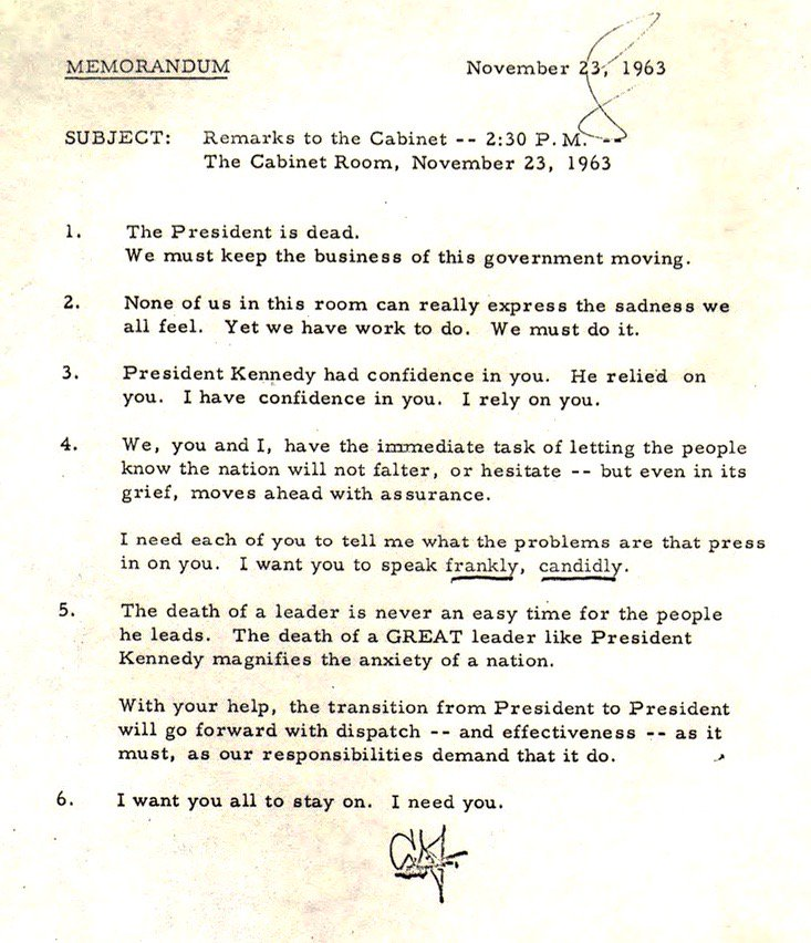 On transition, President Johnson privately tells the Cabinet he inherits after JFK's death--today 1963,