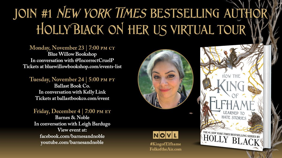 Tonight! Don't miss @hollyblack in conversation with brilliant fan account @IncorrectCruelP.  Get your tickets now — the first 250 purchasers will receive a copy of the book & a bookplate signed by Holly AND illustrator Rovina Cai! 😍  @LittleBrownYR