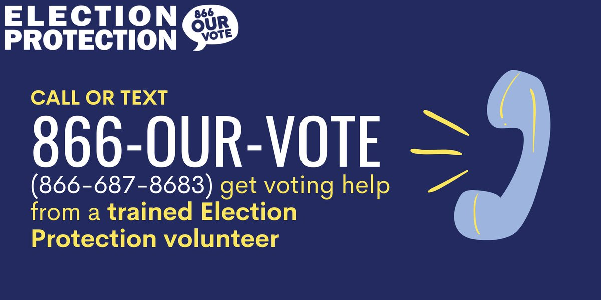 Call or text 866-OUR-VOTE (866-687-8683) to speak with a trained #ElectionProtection volunteer about any voting questions. We're here to help you register to vote and make a plan to vote in upcoming run-off and special elections. #ProtectOurVote