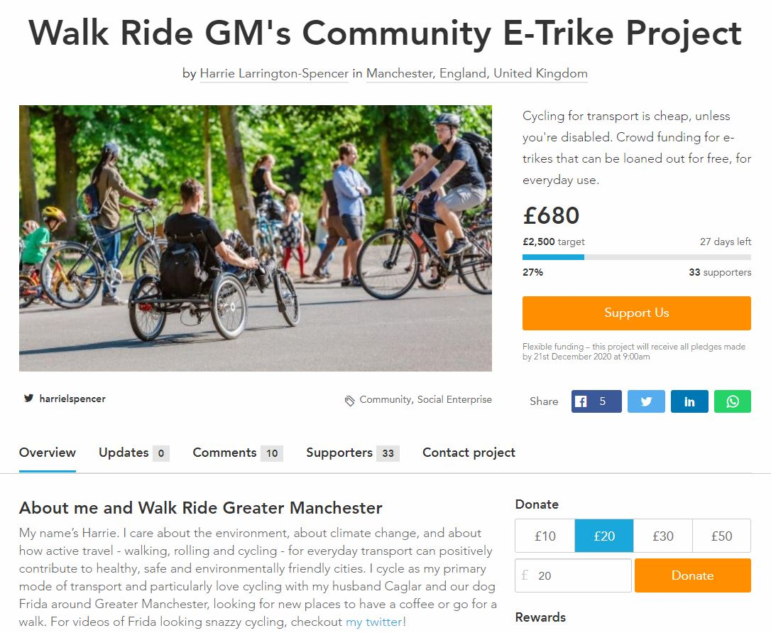 £680 already donated today. I am really blown away by everyone's generosity.   Please keep donating to get this community e-trike. Lots more details on the crowdfunding page too  https://t.co/BROaMqIBuG  At £1000 the project will receive £1000 in initial match funding from M&S https://t.co/iDk0v6UKTH https://t.co/kTKnySJrv6
