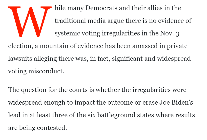 Meanwhile, John Solomon has been looking through court cases and claims to have found a mountain of evidence has been amassed in private lawsuits alleging there was, in fact, significant and widespread voting misconduct. There isnt. This is profoundly misleading.