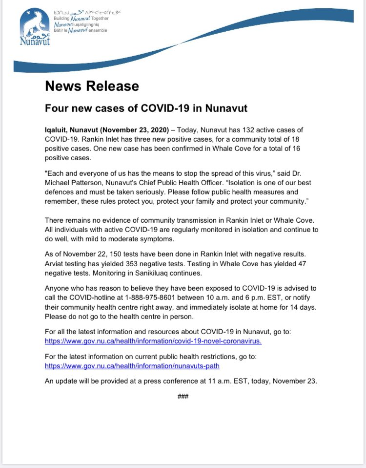 Today's Covid-19 number is 4 new cases in Nunavut.