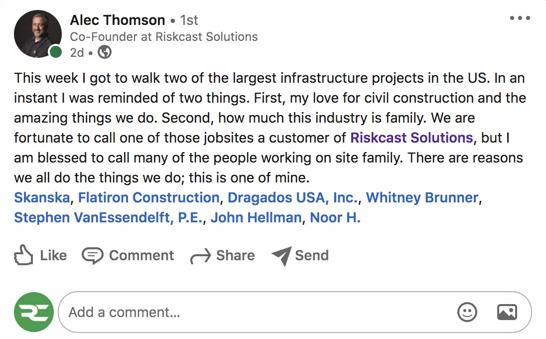 "As we kickoff #Thanksgiving week - a little note from our founder... ""This industry is family"" and we are so proud to be part of it.  #construction @SkanskaUSA @flatironcorp"