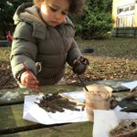 Image for the Tweet beginning: Muddy painting in Forest School!