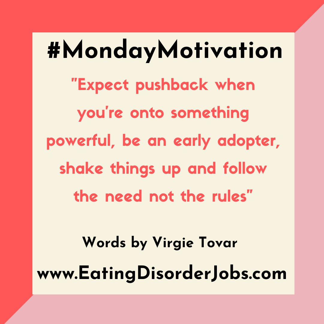 Some very wise words by Virgie Tovar to get you through this Monday. Be the change, not a rule follower #MondayMotivation #eatingdisorderjobs #motivation #change #powerful