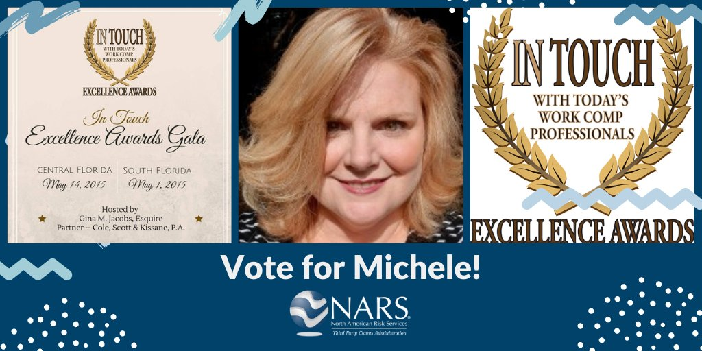 Voting ends on 12/4/2020 for the#2020InTouchExcellenceAward. Have you#votedfor Michele Kirkland yet?#Signup atand#votehere: #claimsadjuster#Monday#MondayMorning#NARSfamily