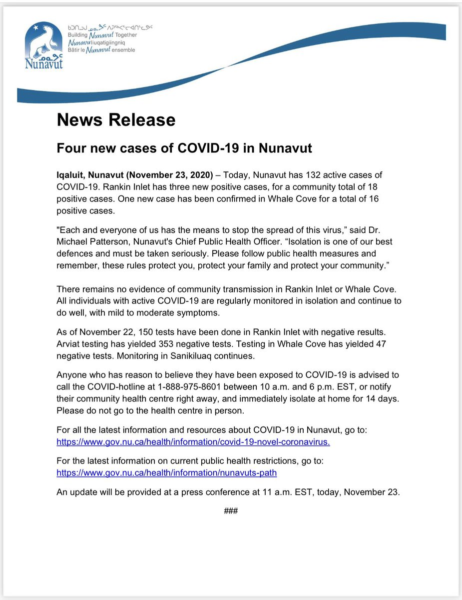 test Twitter Media - 4 new cases of #COVID19 in #Nunavut for a total of 132. https://t.co/Ll3ltgBFR6