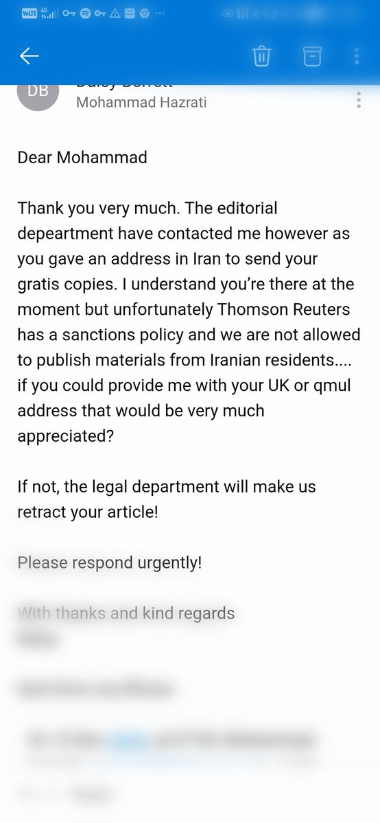 Discrimination against Iranian academics:I've heard from several colleagues that their papers are being rejected without going thru the peer review process. Some western governments have instructed universities to reject applications from Iranian students.#HumanRights #sanctions https://t.co/VOSj2pOma0