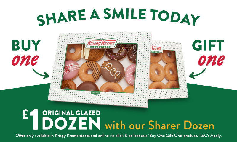 We're bringing smiles this week with our sharing offer - buy a dozen & gift an Original Glazed dozen for £1 to someone special. Available in Krispy Kreme stores.  Prefer to Click & Collect? Order 'Buy One Gift One' for £13.95 > https://t.co/AfWq25DamH  https://t.co/WISwT5LpDK https://t.co/3OEtesYwmR