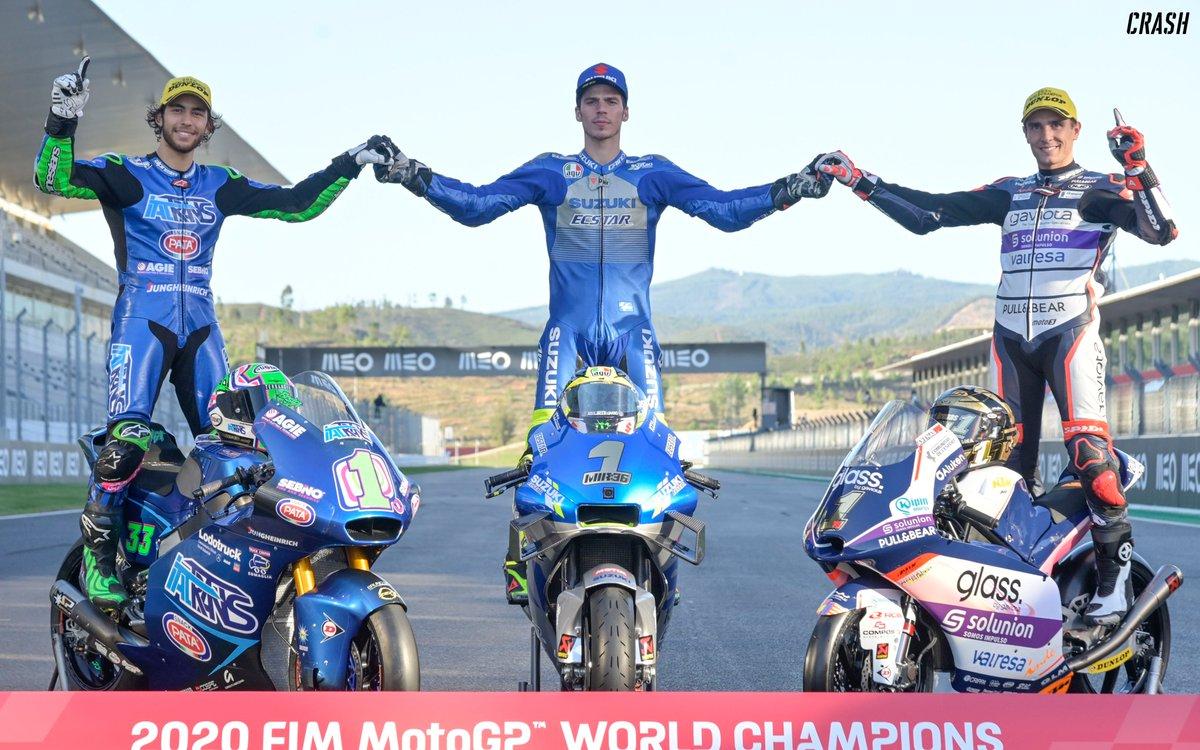 The Champions of 2020 🏆  Moto3 🥇 - Albert Arenas Moto2 🥇 - Enea Bastianini MotoGP 🥇 - Joan Mir   Well done to these three!!   #MotoGP #Moto2 #Moto3 https://t.co/zuMePniW4F