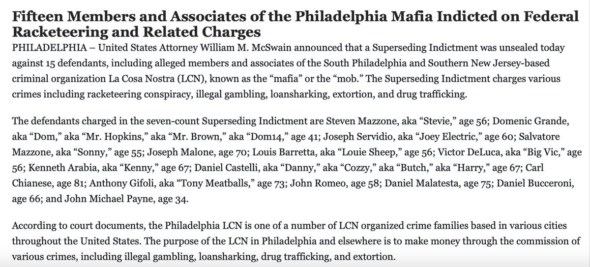 In other news, 15 Philly mob members and associates -- including underboss Steven Mazzone and a guy nicknamed Tony Meatballs -- indicted in biggest LCN RICO case in city in years.