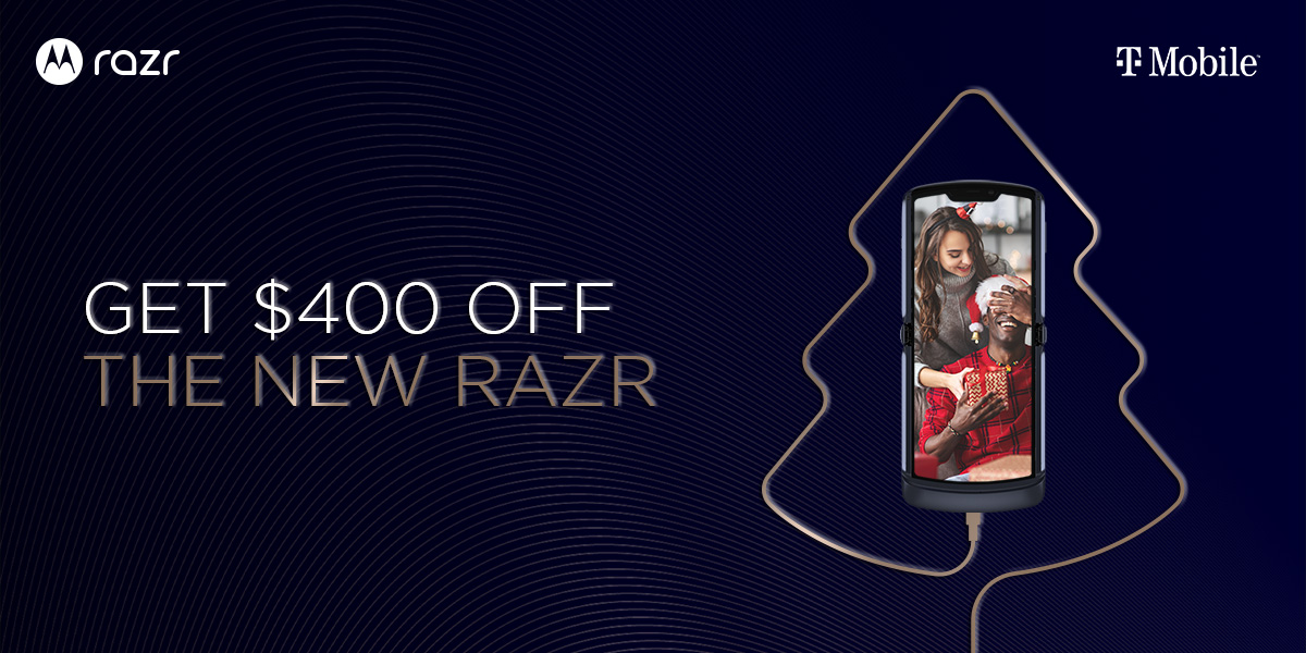 Stay connected to loved ones for the holidays when you save $400 on the new #razr at T-Mobile. https://t.co/9drJHfipIl https://t.co/0ZpVgWKxNn
