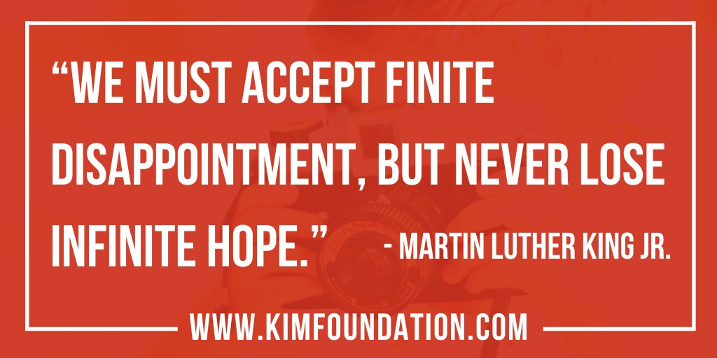 """We must accept finite disappointment, but never lose infinite hope."" -  Martin Luther King Jr.  #MondayThoughts #buildingacultureofpeace"