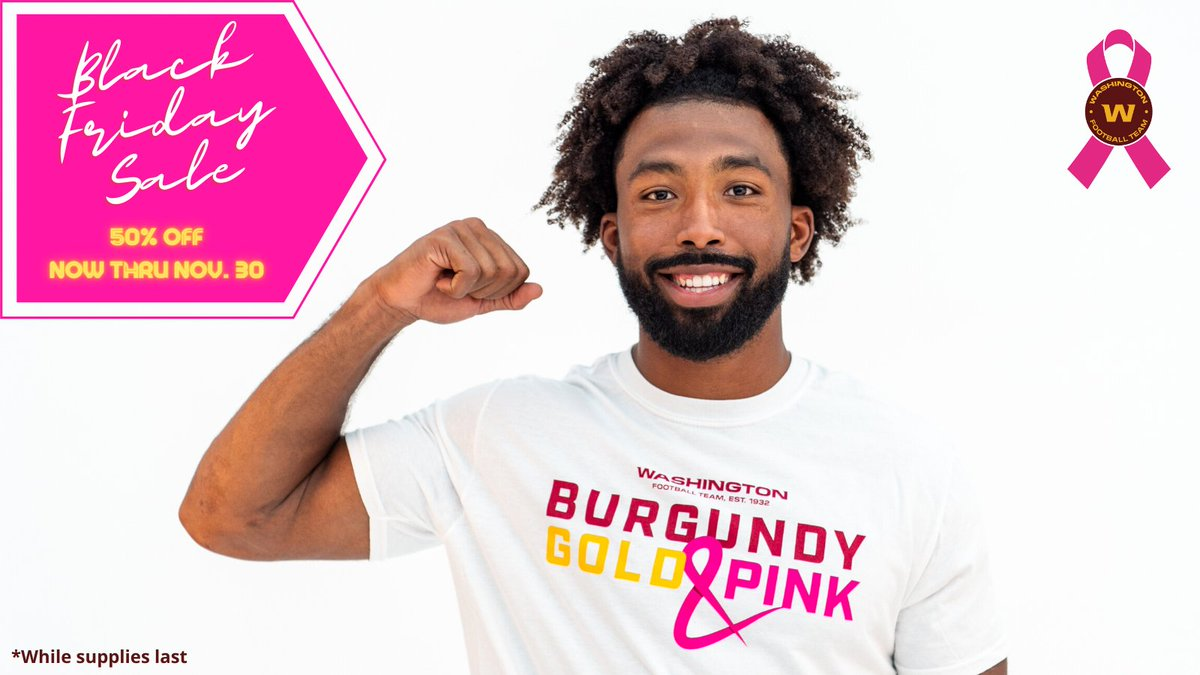 We are kicking off Black Friday Early! Get 50% off your entire Burgundy, Gold & PINK t-shirt from now until Nov. 30 while supplies last 🎀  All proceeds support local Breast Cancer organizations, buy here ➡️ https://t.co/yjvLyTN0KT https://t.co/XflkrY7XCV