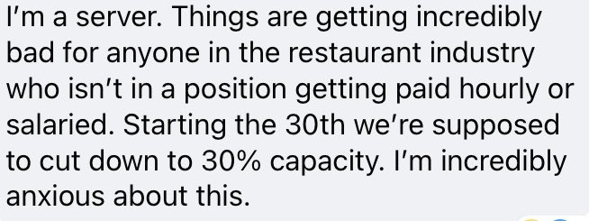 how can we support servers right now? does anyone have ideas or link to mutual aids? RI is cutting capacity to 30% for dining and while thats great for the virus, there's not a safety net for many tipped workers.