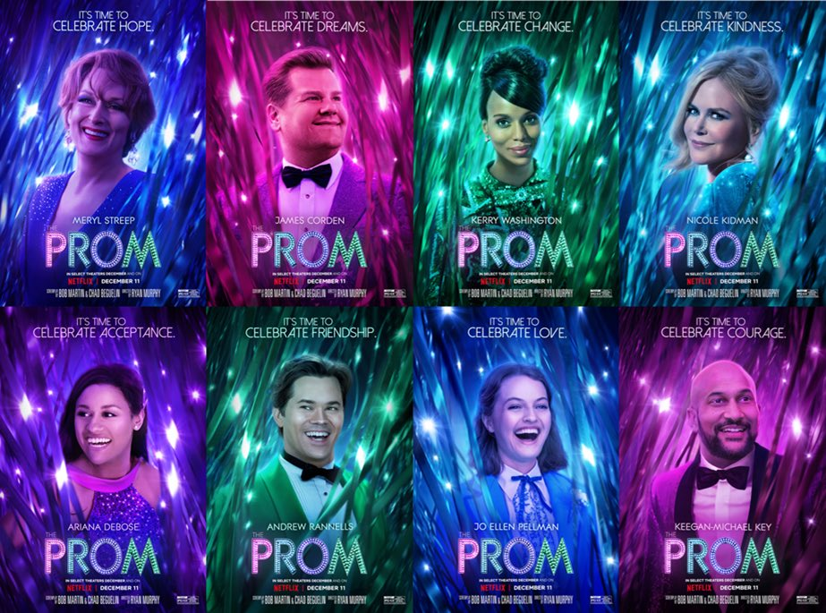 Something to cheer us up - character posters from Ryan Murphy's movie musical ⁦@promnetflix⁩ - #MerylStreep ⁦@JKCorden⁩ #NicoleKidman #andrewrannells sing & dance up a storm . It's delicious frothy fun underpinned by something that matters. #theprom