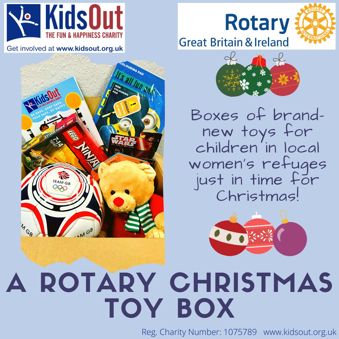 #Chelmsford #Mildmay + Rotarians across UK are working with @KidsOut to provide toy boxes to disadvantaged children at Christmas. The #Rotary branded boxes contain suitable gifts for tots to 13 years to enjoy the festive season.  @RIE1240 @RotaryGBI