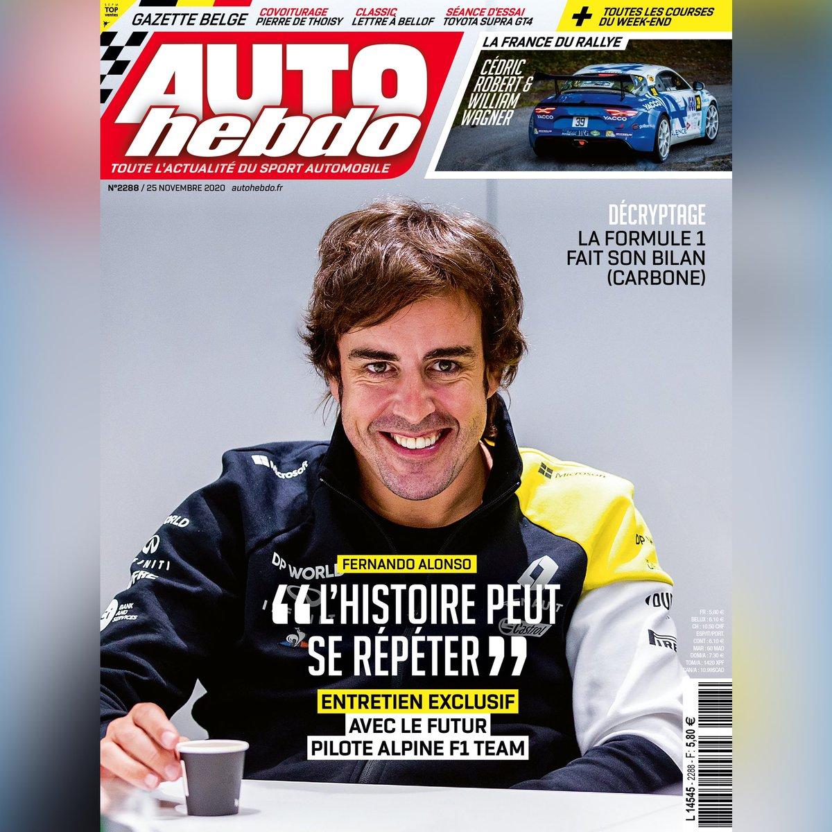 Fernando Alonso est à la Une du numéro 2288 !  📱 Disponible ce soir 20h en numérique 🗞 Disponible mercredi en kiosques https://t.co/4D1RKAfyfH
