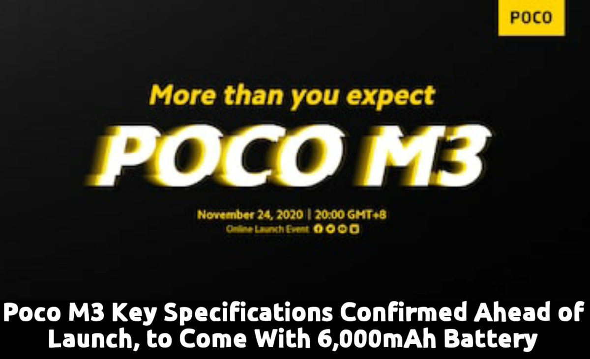 #PocoM3 is all set to launch in #India tomorrow The #Poco M3 is likely to have a triple #camera setup The #phone is said to have a #waterdrop-style notch #technews #RTPnews #Royaltechpro #trending #breakingnews #poco #pocophones #M3 #news https://t.co/Qp0d34UxnR