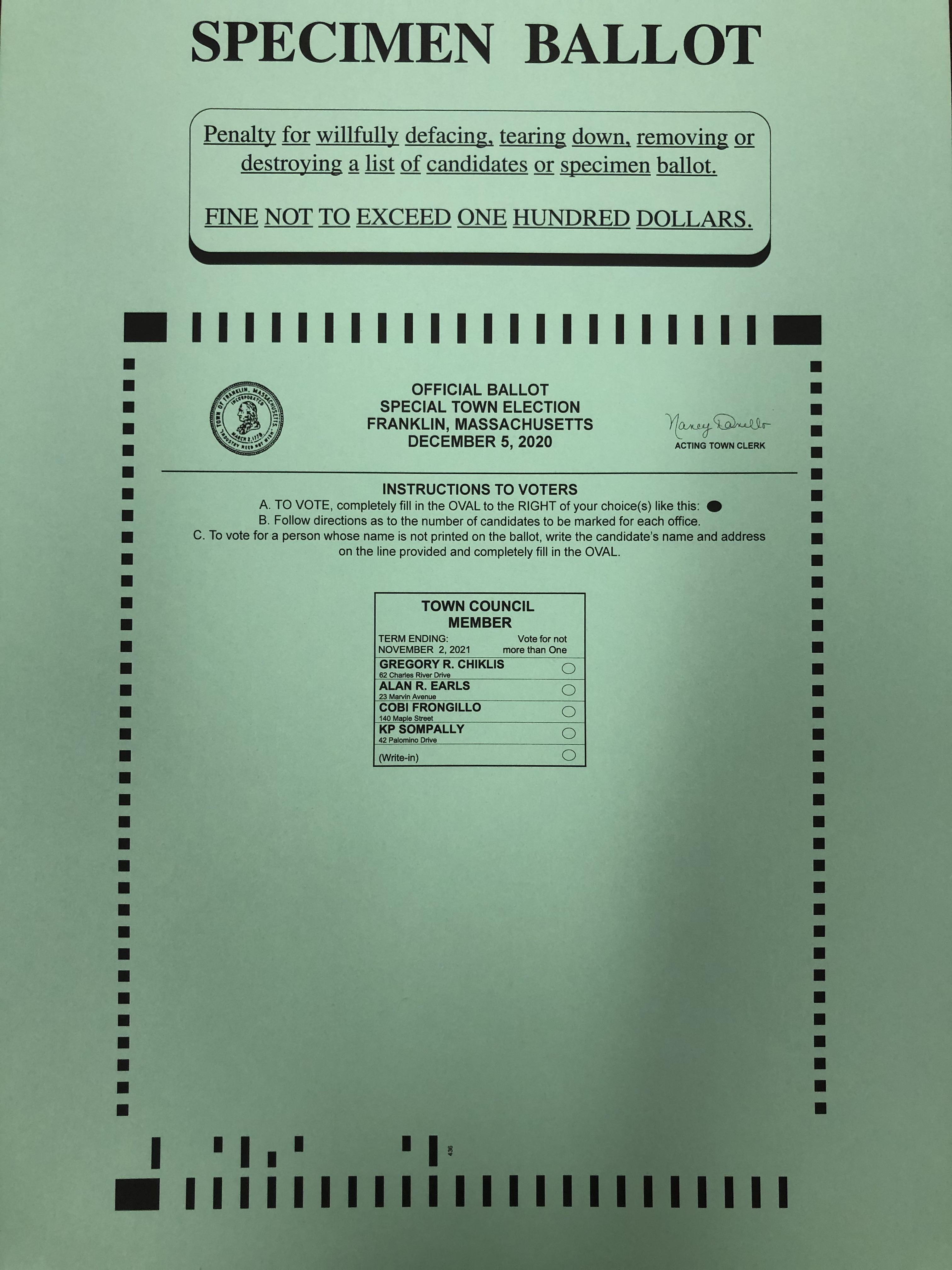 Specimen Ballot for Special Election - Dec 5