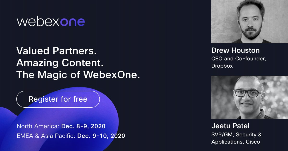 I'm so delighted to have @drewhouston, CEO and Co-founder of @Dropbox, join me at #WebexOne to discuss how we can jointly create magical experiences for the future of work.  Register now to see our latest innovations for seamless collaboration with our valued partners https://t.co/HZQ5hcARE5