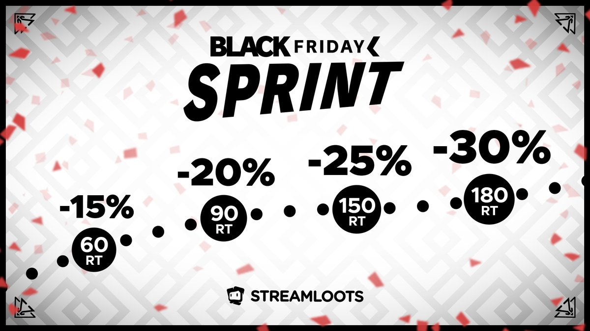 🤑 Black Friday Sprint: the more you retweet, the LARGER the discount! 🤑    🔁 Retweet this post in order to reach the discount milestones!  ...and don't forget:  😈THIS IS JUST THE BEGINNING OF OUR BLACK FRIDAY WEEK 😈
