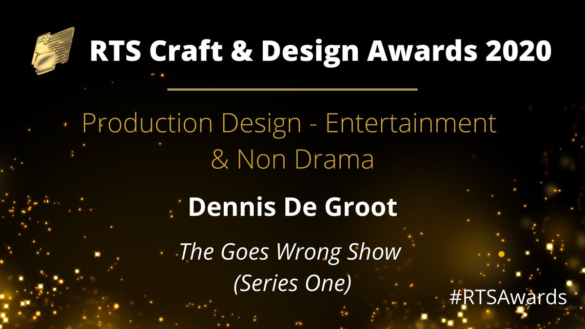 The first award of the night goes to Dennis De Groot for Production Design – Entertainment & Non Drama for The Goes Wrong Show. Congratulations! #RTSAwards