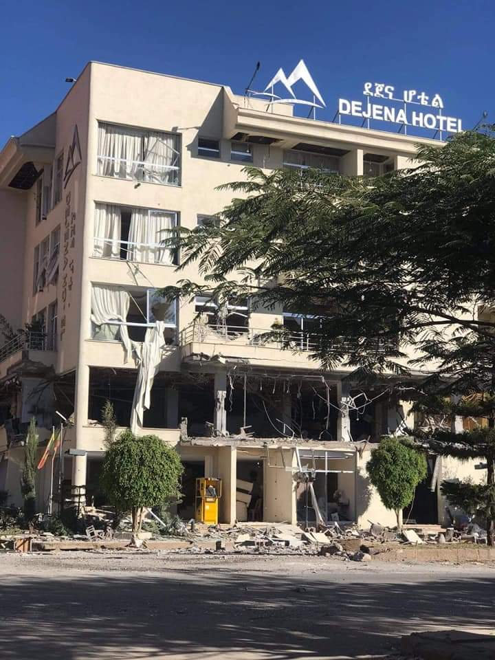 @cnnbrk Abiy Ahmed's war jets destroyed hotels in Shire, Tigray. More than 100  people killed by airstrikes. #EthiopiaCrises #TigrayGenocide