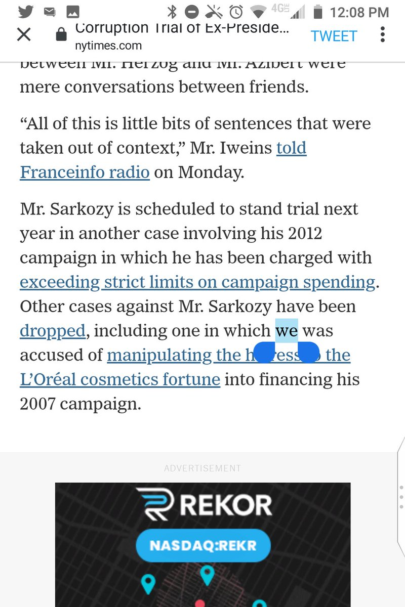 """@nytimes """"we"""" is a great typo for """"he"""" in """"Other cases against Mr. Sarkozy have been dropped, including one in which we was accused of manipulating the heiress to the L'Oréal cosmetics fortune into financing his 2007 campaign.""""  We was accused, indeed. @aurelienbrd https://t.co/DnKIMH3Eaa"""