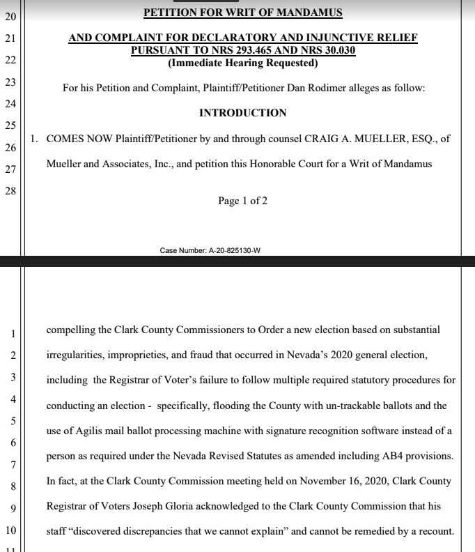 All eyes have been on PA lately re: litigation, but cases are still going in Nevada — a judge is holding a hearing now in another case seeking a revote in Clark County (filed by GOP cong. candidate Daniel Rodimer) — raising similar issues the same judge rejected in another case