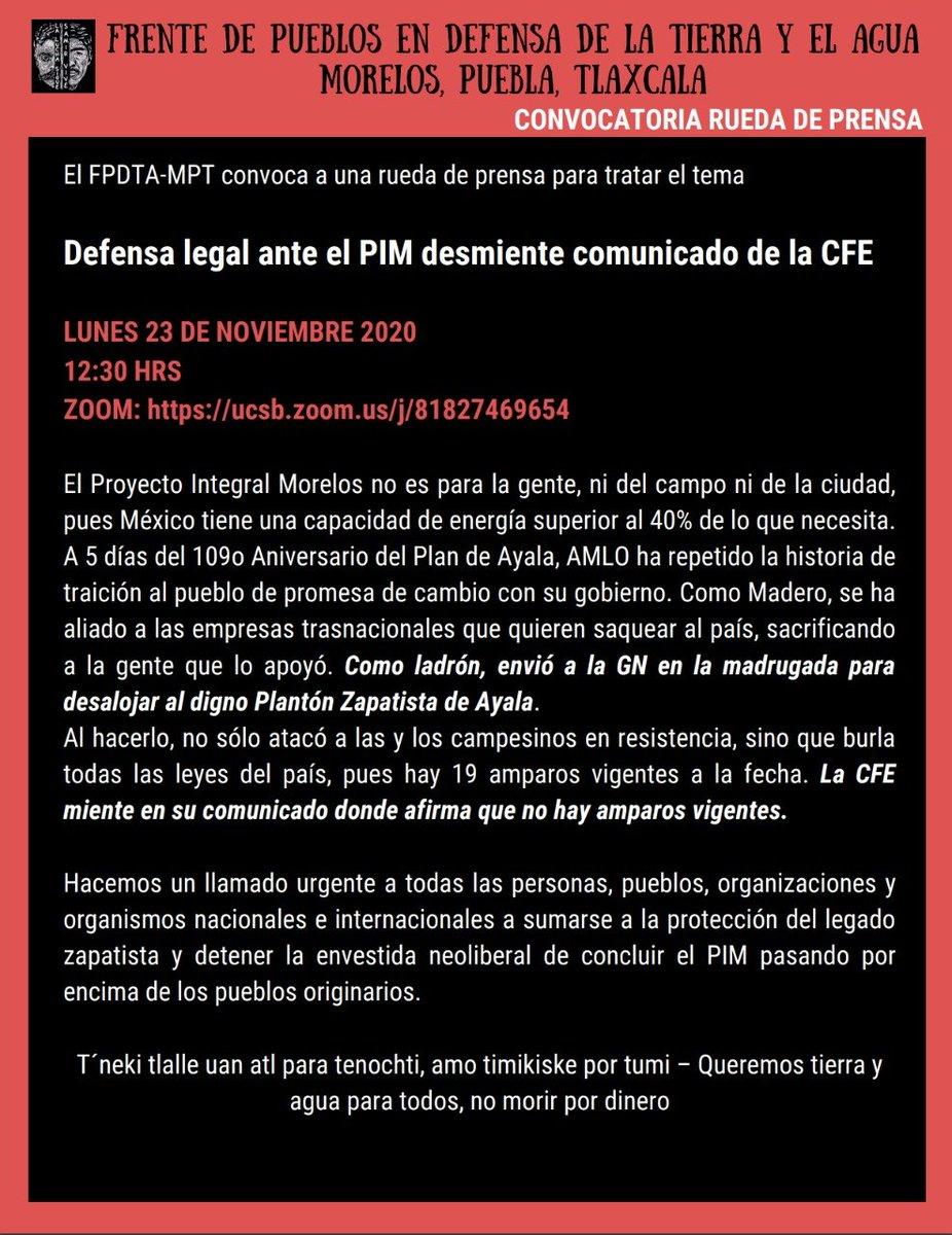 #México: Condenamos el desalojo por alrededor de 300 elementos de la @GN_MEXICO_ del plantón #Apatlaco, el cual mantenían desde hace 4 años en oposición a la termoeléctrica de Huexca y al PIM Comunicado del FPDTA-MPT facebook.com/FPDTA.MPT/post… Rueda de prensa hoy a las 12:30 hrs👇🏽