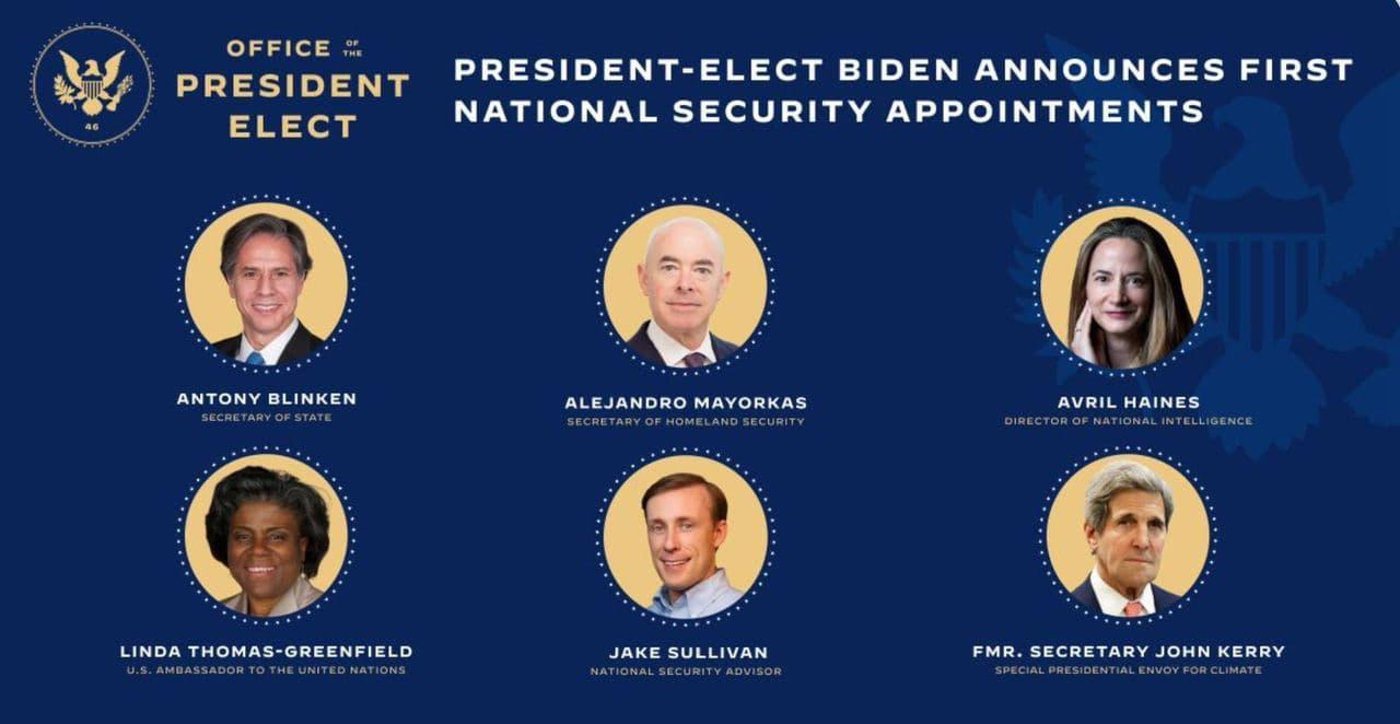 """YouTrend on Twitter: """"🇺🇸 Nell'Amministrazione #Biden entrano anche: 📌  John #Kerry, inviato speciale per il clima 📌 Alejandro #Mayorkas,  segretario della sicurezza interna 📌 Jake #Sullivan, consigliere per la  sicurezza nazionale 📌"""