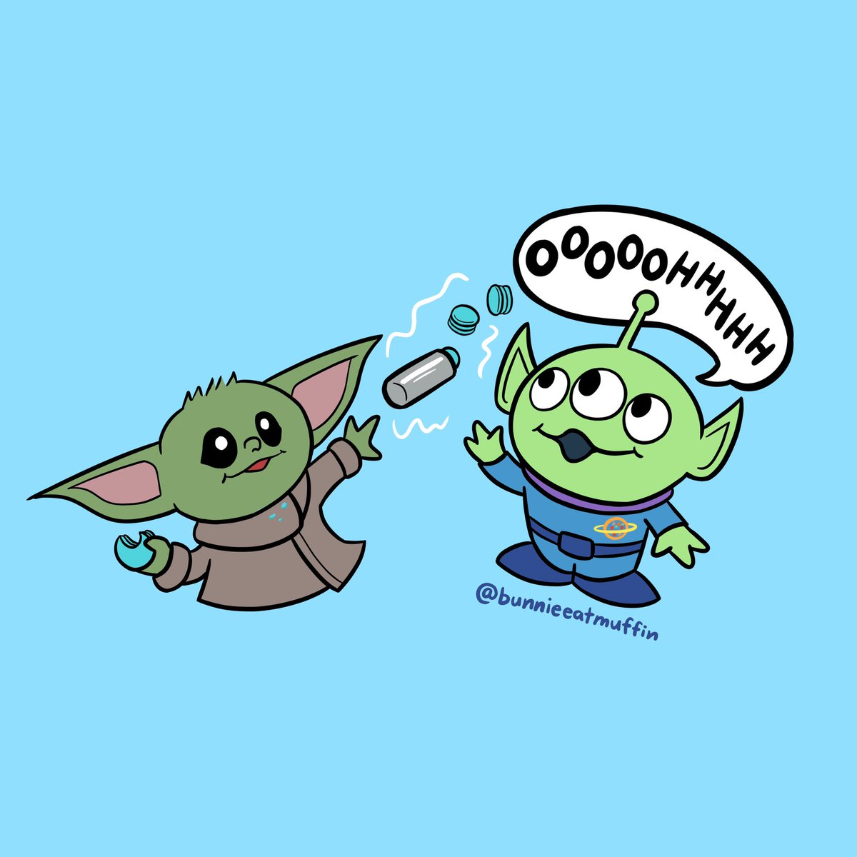 I think #TheChild and a @toystory alien would get along very well and share macarons 🍪 #babyyoda #ToyStory25