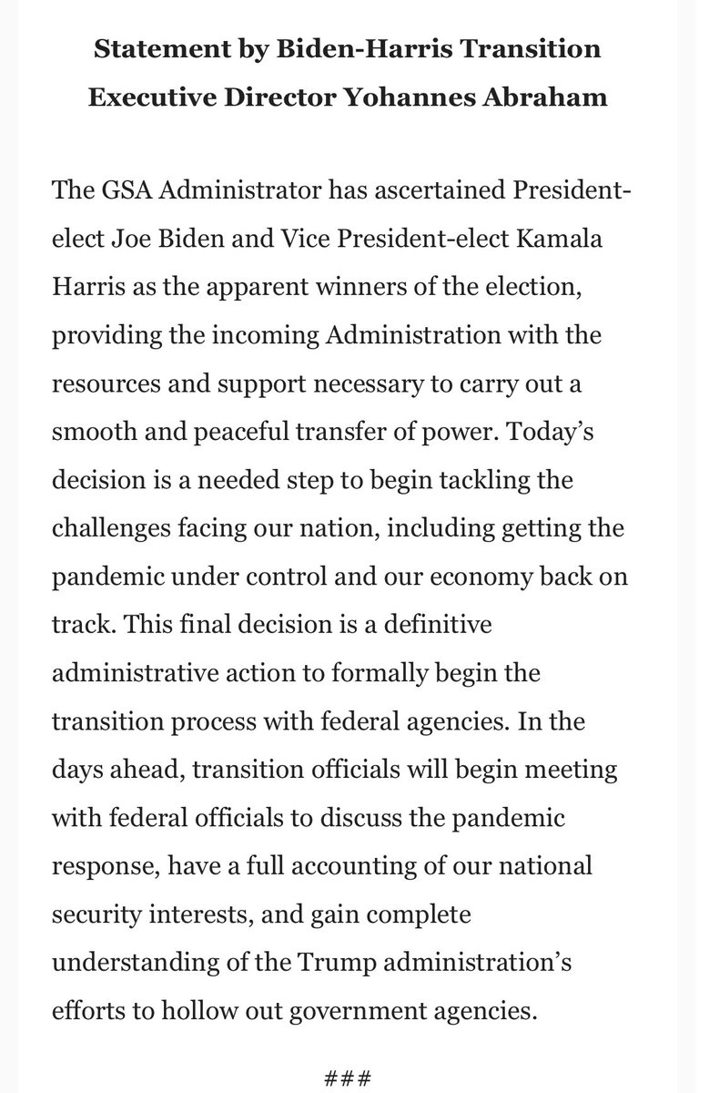 Here's reax from @JoeBiden's transition executive director @YohannesAbraham to the GSA decision: